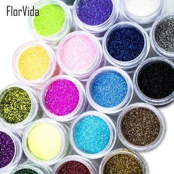 FlorVida 10g Nail Art Glitter Dip Powder 24 colors Pigment Powder for Nails Design Masquerade Sparkly Glitter Powder image