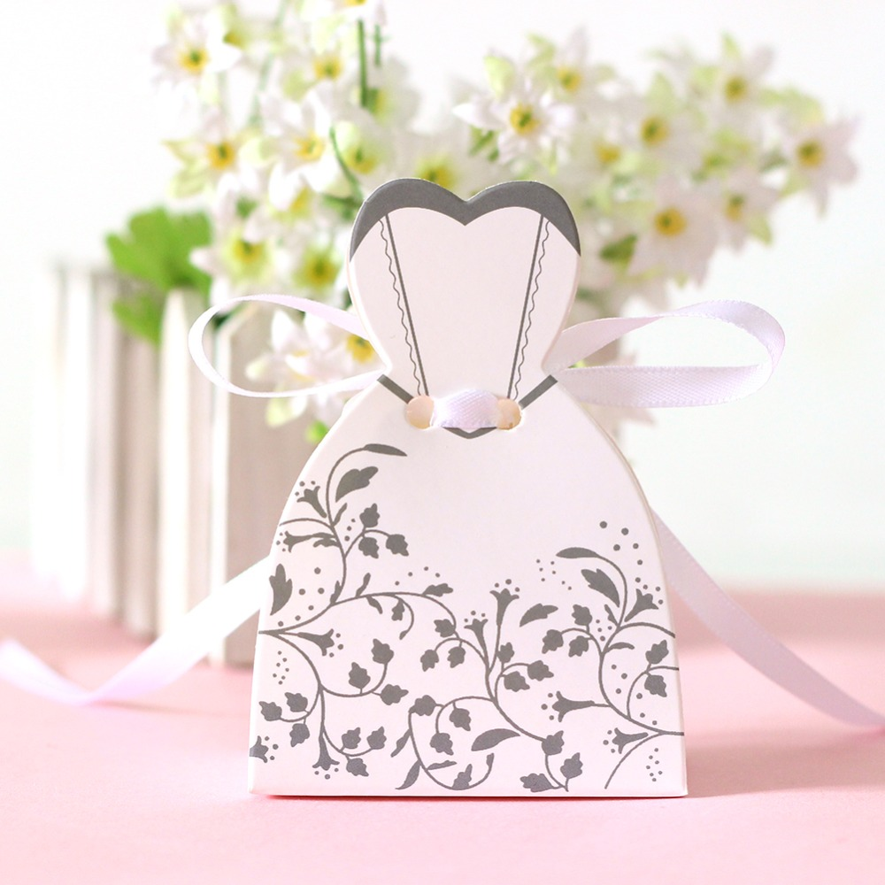Aliexpress.com : Buy 50pcs/lot Candy Box Bride Dress Candy Bag ...