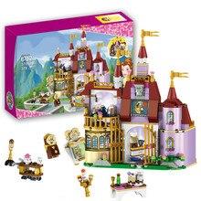37001 Красота и чудовище Принцесса Белль Зачарованный замок строительные Блоки девочки; дети Игрушки Совместимость с блоки принцессы подарок