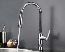 Бесплатная доставка Кухонный Кран Torneira Cozinha Lavabo Pull Out UP & Вниз Хром Латунь Водопроводной Воды Раковина MixerTap Кран
