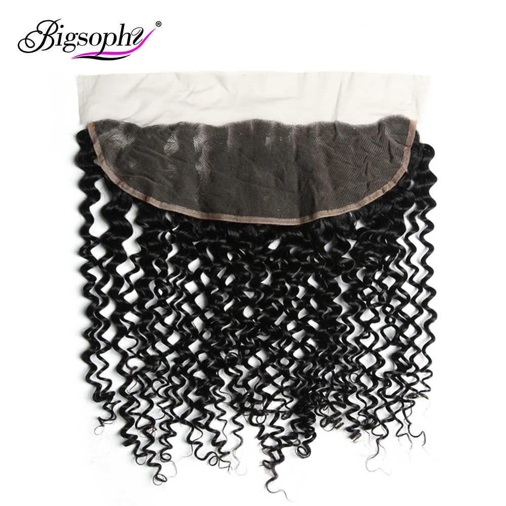 Bigsophy Malaysian Kinky Curly Frontal Closure 13X4 Human Hair Lace Frontal Closure Human Remy Hair 8 -20 Inch Natural Color