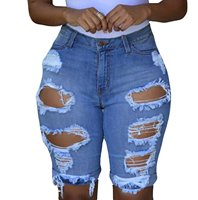 Abetteric Women's Ripped Distressed Hole Short Jeans Stretchy Juniors Midi Pants