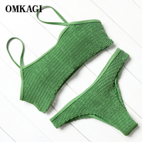 OMKAGI Brand High Quality Green Brazilian Bikinis Set Swimwear Women Bikinis 2017 Beach Bathing Suits Summer