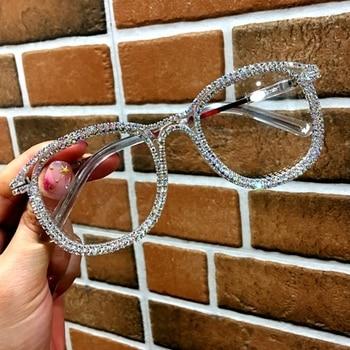 Gold rhinestone cat eye  Sunglasses for Women Brand Designer Shades Sun Glasses Men Vintage Metal Clear Eyewear UV400 Sunglass