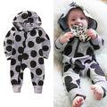 Moda Infantil Moletom Com Capuz Dots Impressão Macacão Bonito Do Bebê Romper Do Bebê Menino Menina Outono Roupas de Criança Roupas de Impressão