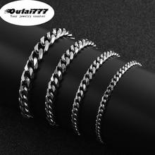 2019 wholesale stainless steel mens bracelet gifts male cuban link chain on hand men accessories man's chain couple bracelets цена