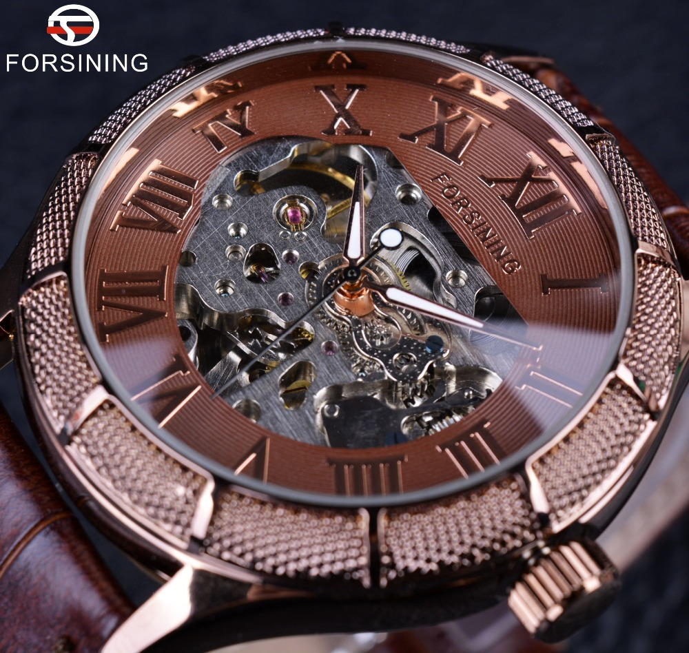 Forsining Skeleton Watch Transparent Roman Number Watches Men Luxury Brand Mechanical Men Big Face Watch Steampunk Wristwatches vintage cool black hollow case with roman number dial skeleton steampunk mechanical pocket watch with chain to men women
