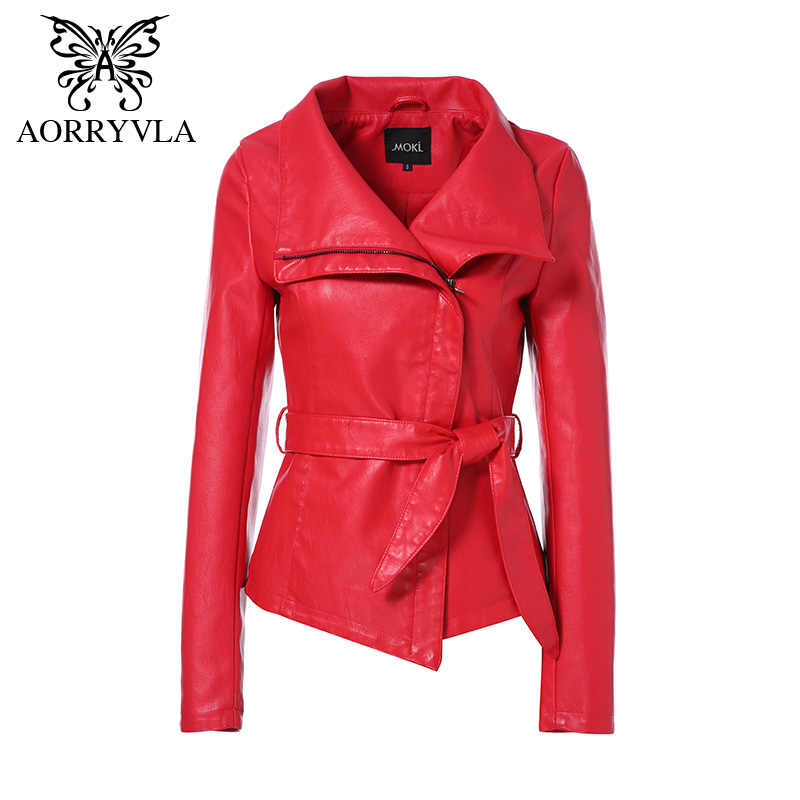 AORRYVLA Hot Jackets For Women Spring 2019 Brand Leather Jacket Gothic Large Turn-Down Collar Sashes Short ladies leather Coat