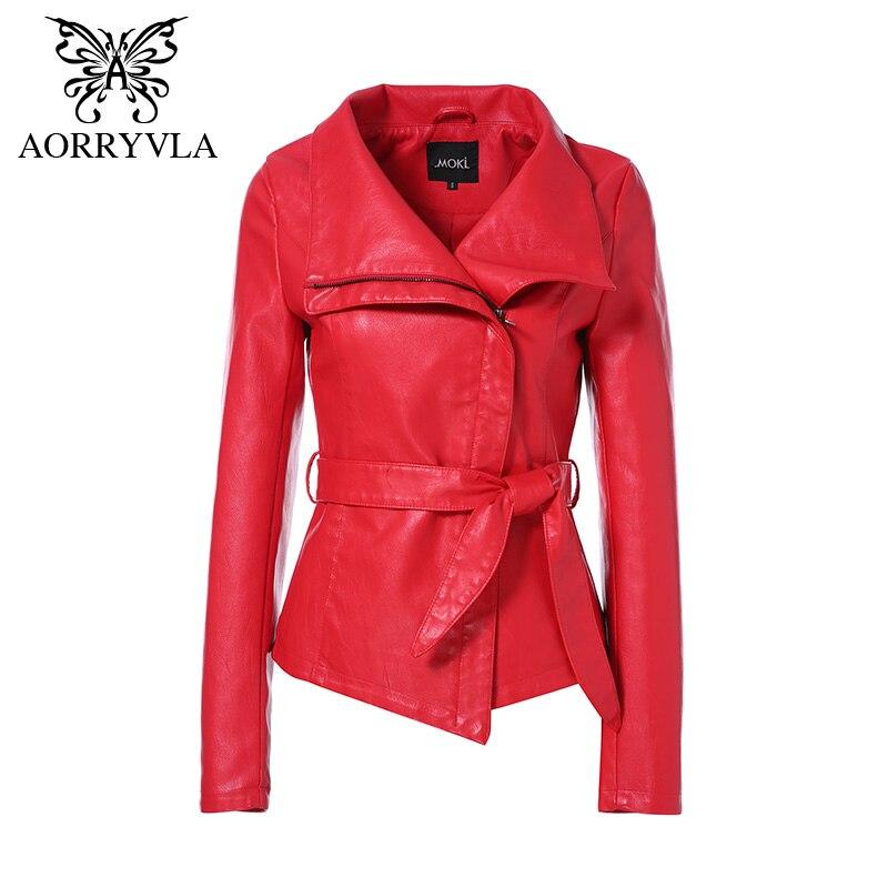 AORRYVLA Hot Jackets For Women Autumn 2019 Brand Leather Jacket Gothic Large Turn-Down Collar Sashes Short Ladies Leather Coat