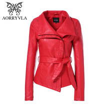 Jacket Spring Faux-Leather AORRYVLA Women Slim-Style New Length Short Fashion Red-Color