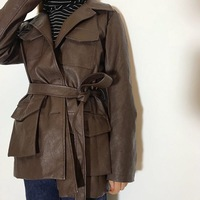 Women's PU leather jacket with belt