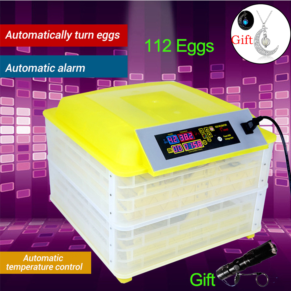 112 Digital Egg Incubator Machine Automatic Hatchery Clear Egg Turning Temperature Control Farm Chicken Egg Incubator