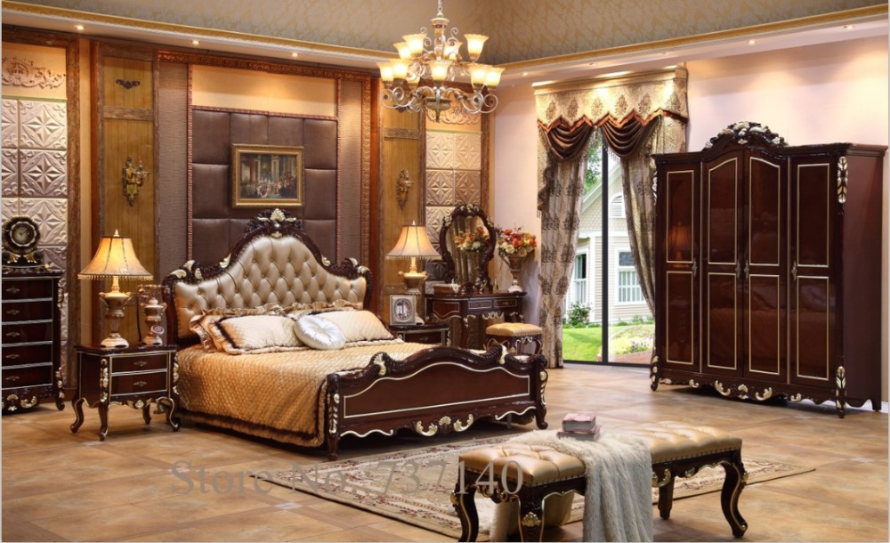European Style High Quality 5 Pcs Bedroom Set With Carving From ...