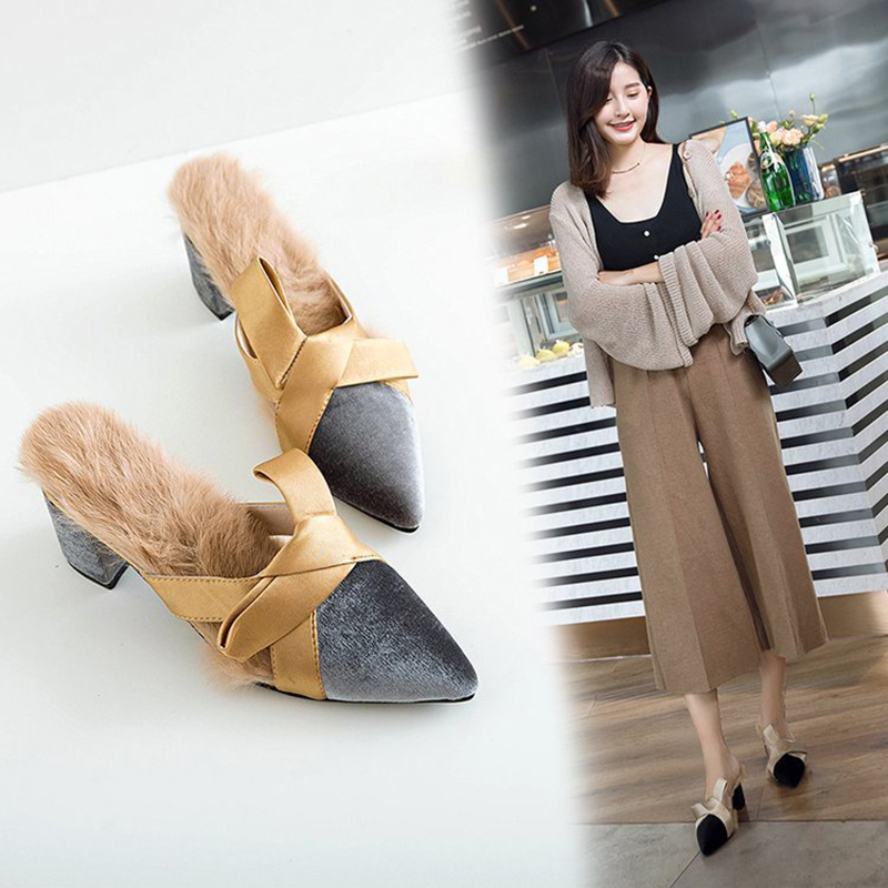129b82cc25c6 Detail Feedback Questions about silk riband bow velvet mules shoes women  real rabbit hair thick heel slippers woman pointed toe lazy shoes women  pantufa ...