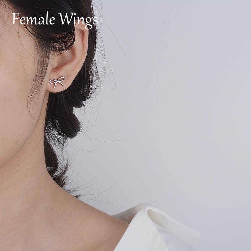หญิงปีก 925 เงินสเตอร์ลิงต่างหูโบว์สุภาพสตรีแฟชั่นสไตล์เกาหลีเงินหวานน่ารักต่างหูของขวัญหญิงเครื่องประดับ FE160