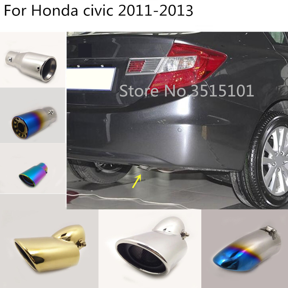 Car Styling Cover Muffler Pipe Outlet Dedicate Exhaust Tip Tail 1pcs For Honda Civic 9th Sedan 2011 2012 2013