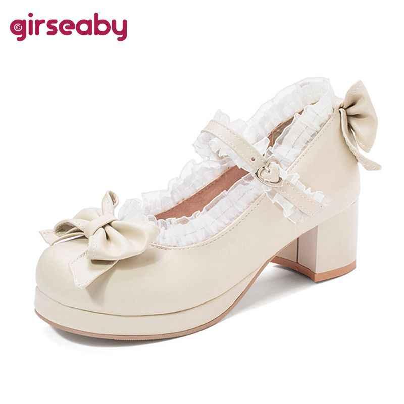 Girseaby Bahar Yaz tatlı kadın yuvarlak ayak dantel fırfır Loita cosplay mary jane loafer'lar kadın ayakkabıları sapato Pembe Siyah