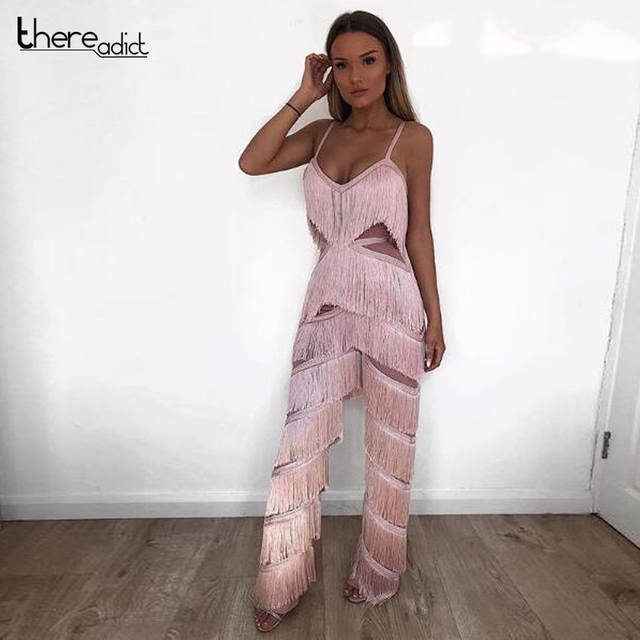 ffa62814f24 Online Shop Runway Sexy Jumpsuit Women 2018 Pink Jumpsuit Strappy Sleeveless  Tassels Palysuit For Women Rompers V Neck Party Jumpsuits
