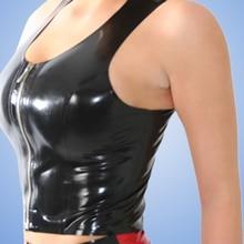 Женское латексное белье ручной работы, сексуальные латексные майки с молнией спереди, футболки, костюмы размера плюс