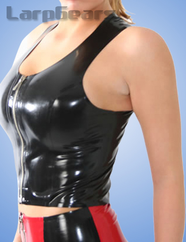 Handmade Woman Latex Lingerie Sexy Rubber Latex Tank Tops With Front Zippers Tees Costumes Plus Size