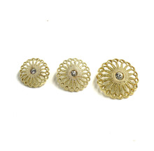 30pcs 18mm/20mm/25mm hollow out metal rhinestone DIY button coat jacket sweater decorative buttons golden sewing