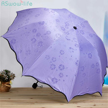 Blossom In Water Sunny And Rainy Umbrella Anti-Ultraviolet Sunshade Triple Three-Folding Umbrella Adults Non-Automatic Umbrella free shipping magpies red plum blossom painting waterproof and sunshade dance props collection and gift oiled paper umbrella