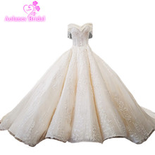 2018 Arabic Champagne Natural White Lace Sleeveless Long Train Up Waves Ball Gown Off The Shoulder Princess Wedding Dresses