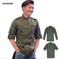 Chef Jackets restaurant uniforms shirts long sleeves restaurant uniform chef clothes chef coat unisex thai restaurant uniform