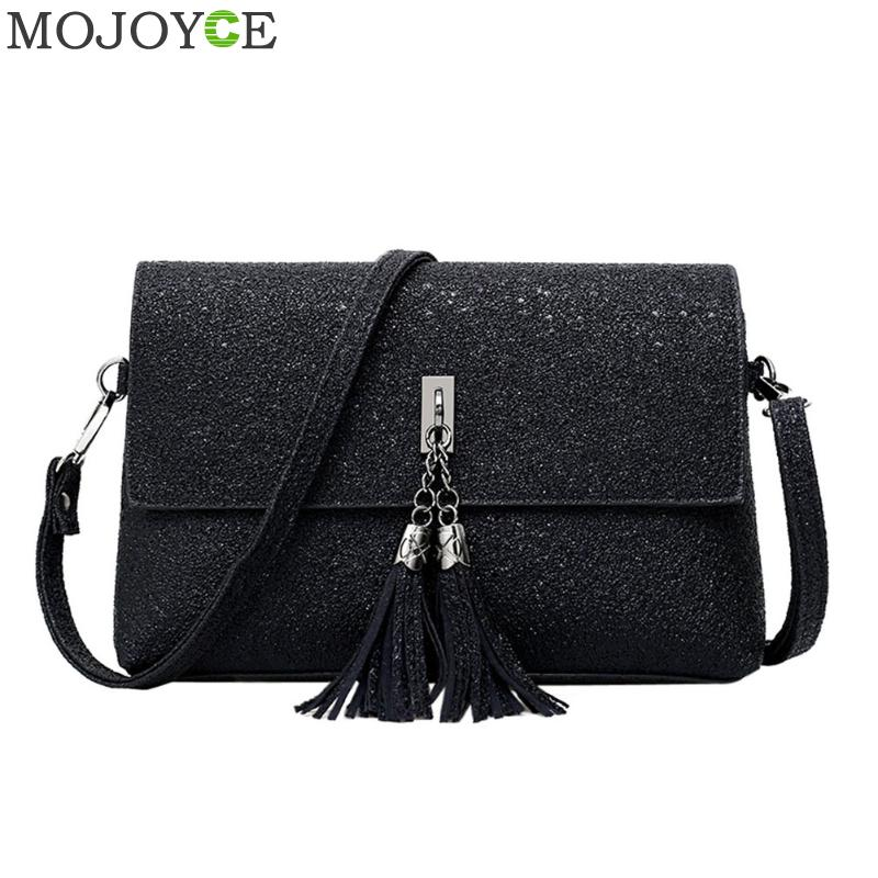 Women Fashion PU Leather Messenger Bag Tassels Small Envelope Bag Crossbody Shoulder Bags Black Small Handbags Brand Female Bags