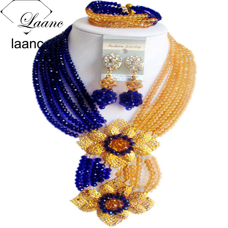 Laanc Jewelry-Set African Beads Nigerian Wedding Gold Royal-Blue Champange Crystal Fashion