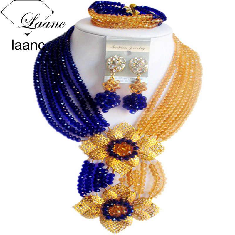 Laanc Мода Королевский синий Champange Gold нигерийской свадьбы Африканский Бусины комплект ювелирных изделий Кристалл c6chlk024