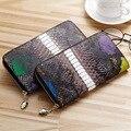 Women genuine leather wallets Crocodile grain long purse European and American style zipper wallet personality trend wallets