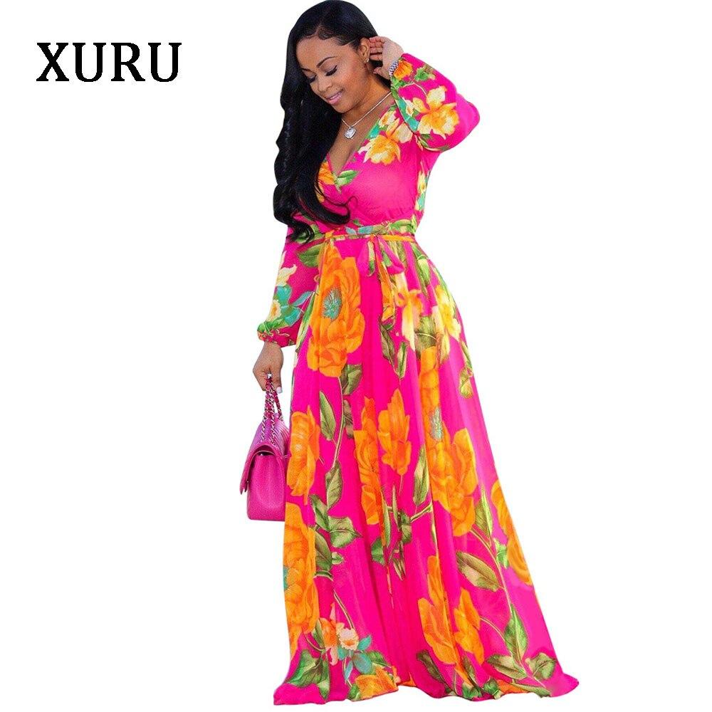 XURU Women Chiffon Printed Dress V Neck Long Sleeve Belted Loose Dresses Boho Style Casual Long Maxi Dress Plus Size S 5XL