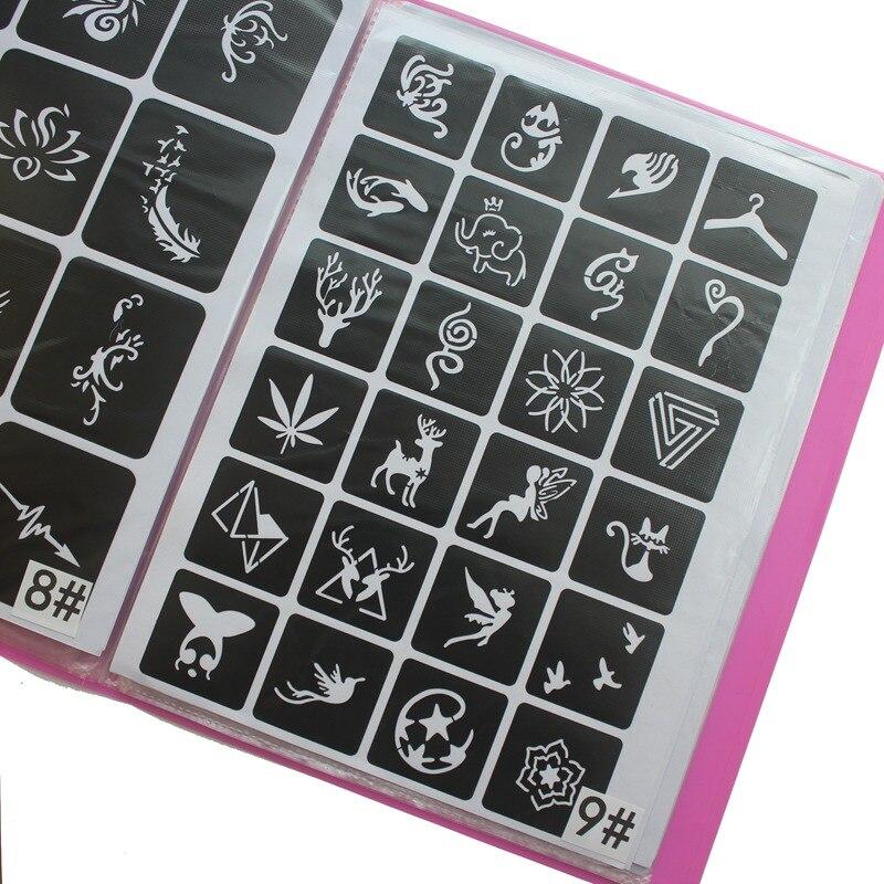 300pcs/Lot Reusable Sticker Tattoo Stencils Folder,Painting Template Airbrush Glitter Henna Tattoo Stencil Set Al Tattoo pigment
