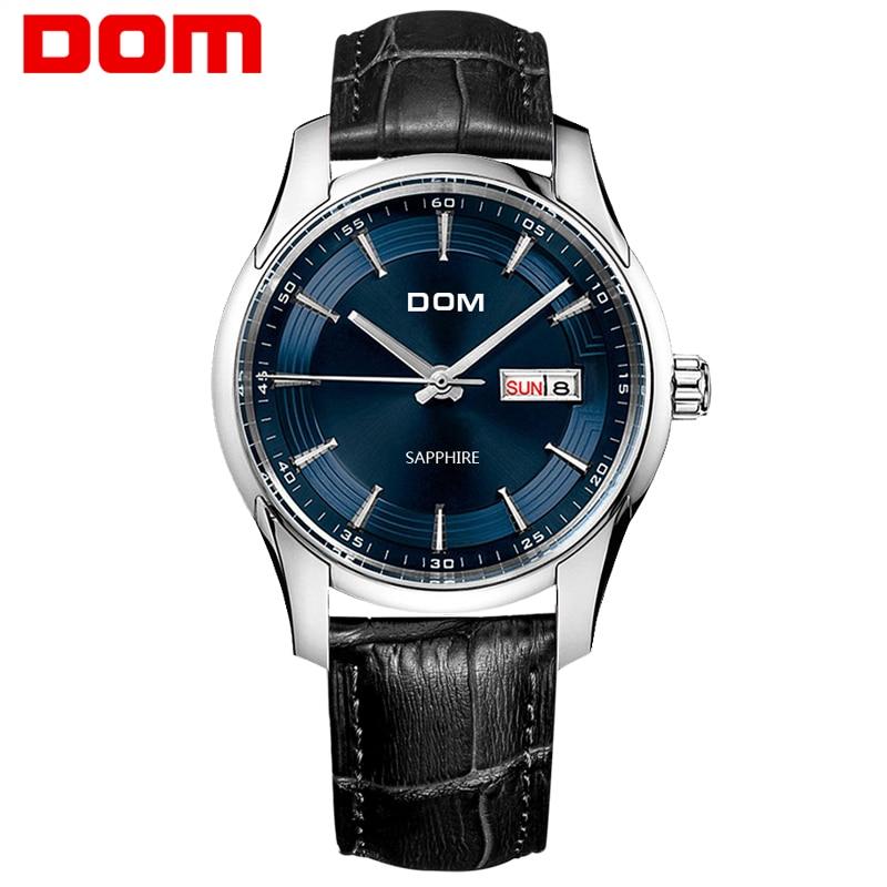 DOM  mens watches top brand luxury  waterproof quartz  Business leather watch  reloj hombre marca de lujo  M-517