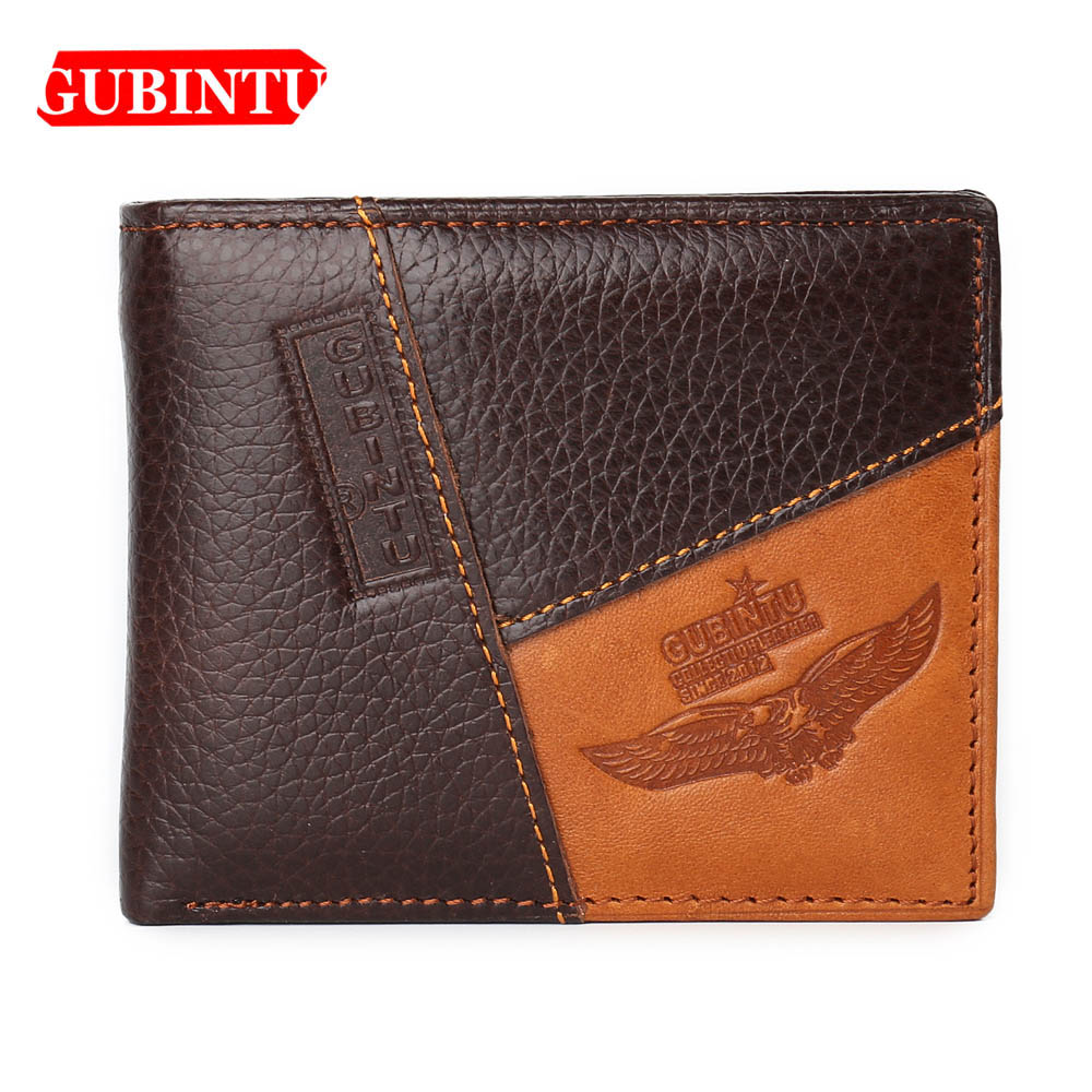 GUBINTU Fashion Men Wallets Genuine Leather Passcard Pocket Note Compartment Men Purse High Quality Brand Male Wallets