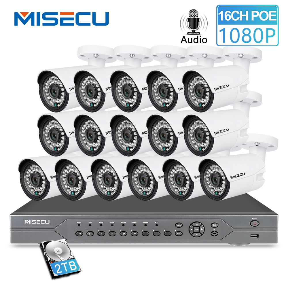 MISECU H.265 16CH 2MP 5MP POE NVR CCTV Sistema di Sicurezza 16PCS IR Esterno 1080P Registrazione Audio P2P All'aperto video di Sorveglianza Kit