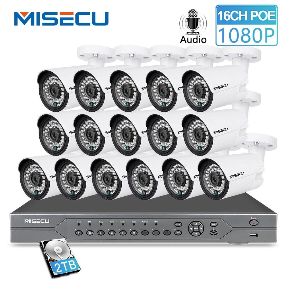 MISECU H.265 16CH 2MP 5MP POE NVR système de sécurité CCTV 16 pièces IR extérieur 1080P enregistrement Audio P2P Kit de Surveillance vidéo extérieure