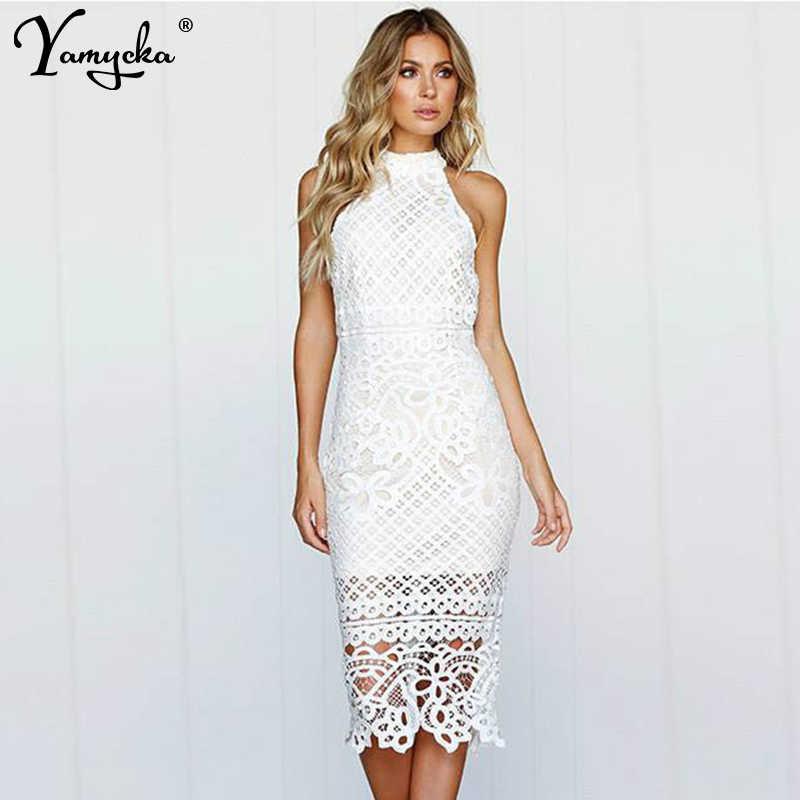 0be26e3eb Sexy de encaje blanco vestido de verano vestido mujeres hombro largo elegante  vestido de ver a