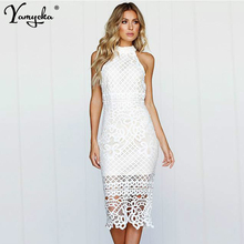 цена Sexy white Lace Summer Dress women Off Shoulder Long dress elegant see through Nightclub Party dresses Maxi clothes vestido New