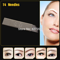 100pcs/lot JM611D-X3 Steel Permanent Eyebrow Makeup Blades Manual Eyebrow Tattoo Blades with 14 Needles Free Shipping
