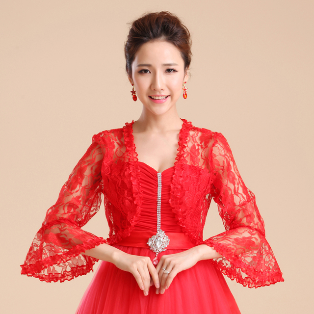 Pretty novia de encaje del cabo del shrug Bolero vestido blanco rojo ...