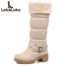 LebaLuka Metade Mulheres Botas Curtas Inverno Engrosse Fur Quente Meados de Bezerro Botas de Salto Quadrado Feminina Gladiador Botas Sapatos Tamanho 34 -43