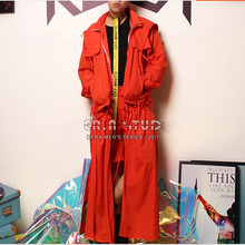 Nightclub DJ male long orange Windbreaker shorts suit costumes loose cool 2 pieces sets stage performance costumes for singer DS