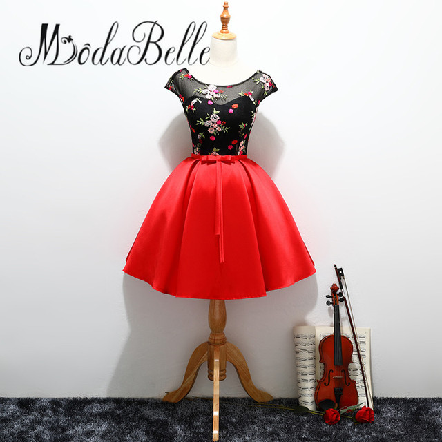 48449880ed modabelle Black Red Satin Prom Dresses Short Floral Bow Semi Formal  Homecoming Dress Robe Soiree Courte Et Chic Evening Gowns