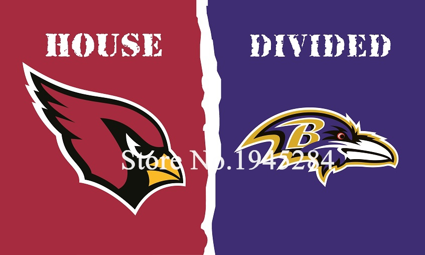 NFL Arizona Cardinals Baltimore Ravens House Divided Flag 3x5ft 150x90cm Polyester Flag Banner, free shipping
