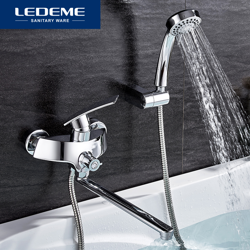 LEDEME Bathroom Shower Faucet Set Brass Bathtub Shower Faucet Bath Shower Tap Chrome Plated Shower Head Wall Mixer Tap L2270 shower faucets brass chrome thermostatic bathroom wall bathtub faucet rain shower head handheld square mixer tap sets jm 625l