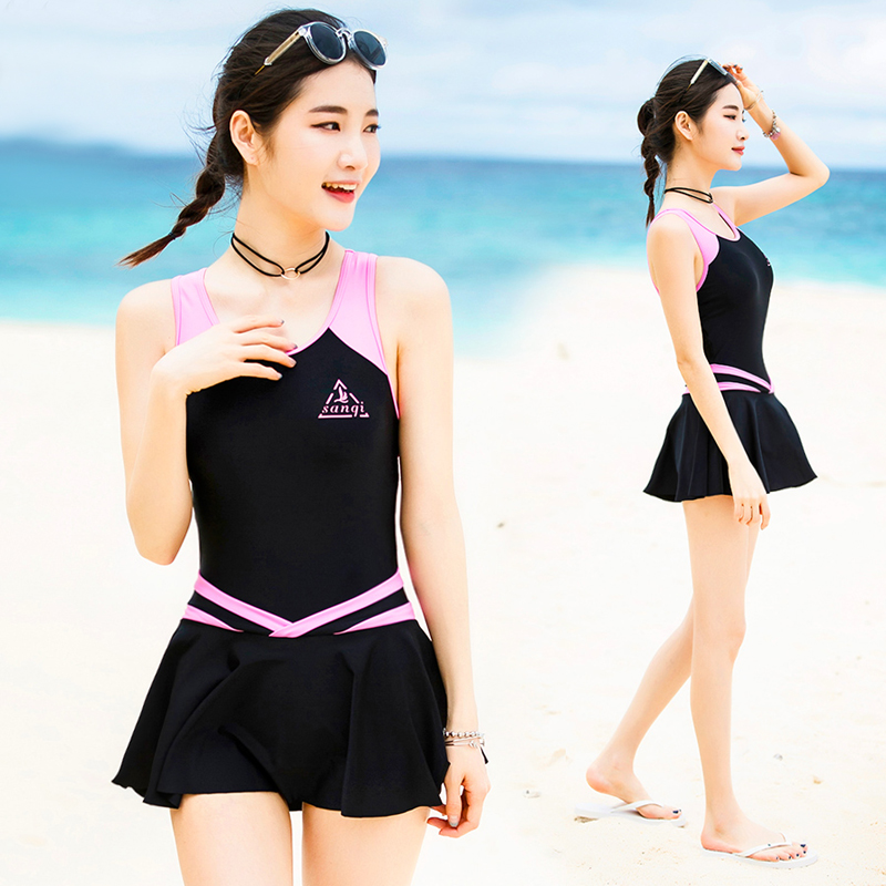 VERZY Pretty One Piece Swimsuit Skirt Women Beach Swimwear Dress Beach Cute Sexy A-Line Print Young Ladies Bathing Suit SQ18047 women one piece triangle swimsuit cover up sexy v neck strappy swimwear dot dress pleated skirt large size bathing suit 2017
