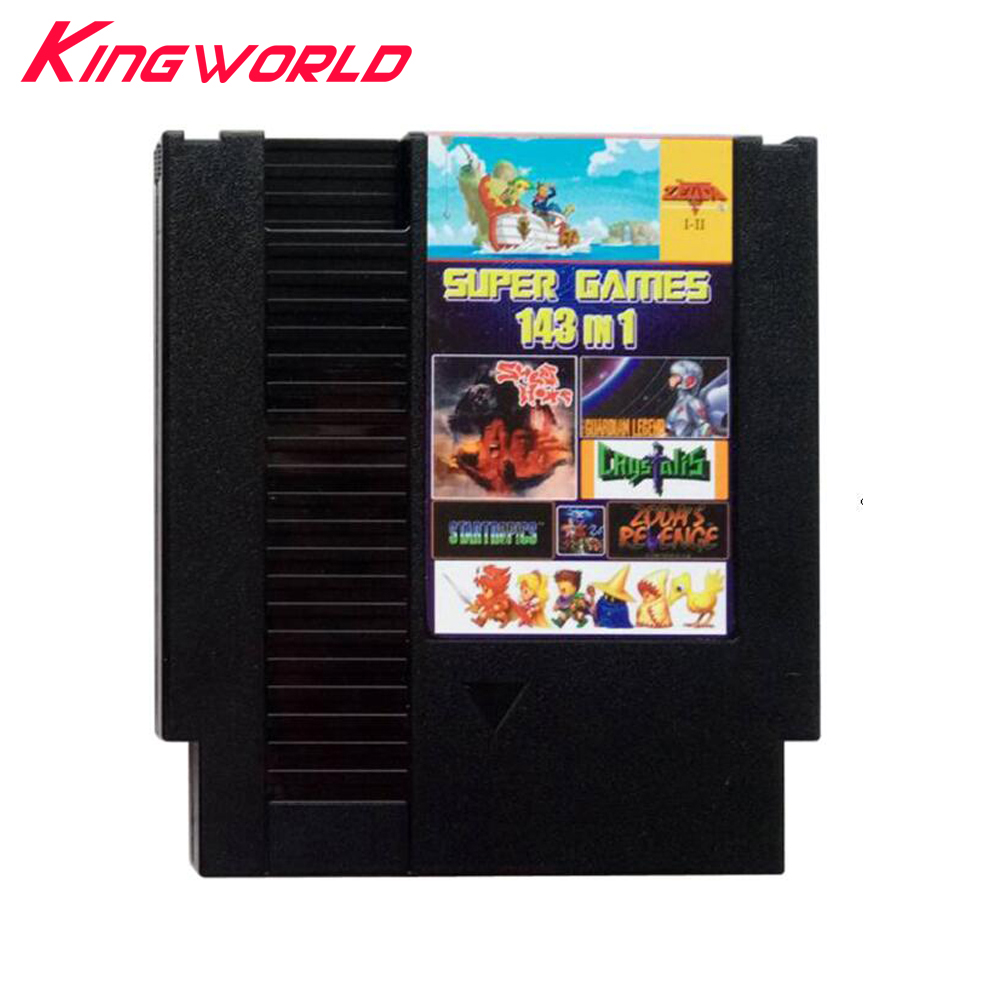 High quality game cartridge 143 in 1 For NES 72pins with Dust Sleeve