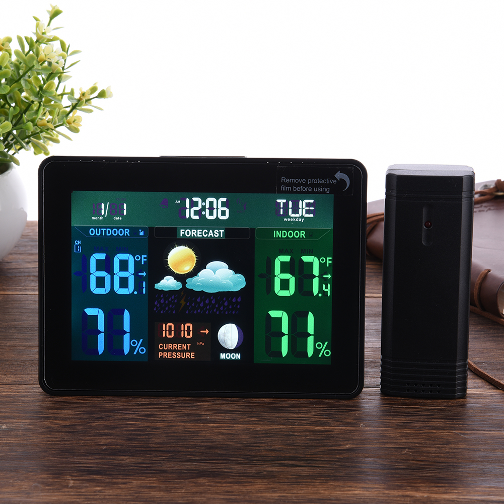 LCD Digital Wireless Weather Station Clock Alarm Electronic Indoor Outdoor Thermometer Hygrometer Calendar Moon Phase Display 1 9 mini digital lcd indoor outdoor thermometer with clock 50 70 c 1 lr44